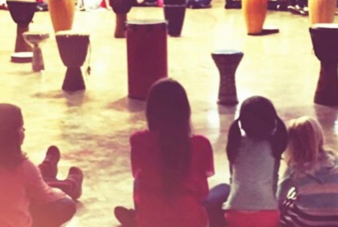 Holistic School Instagram Students at Drum Circle