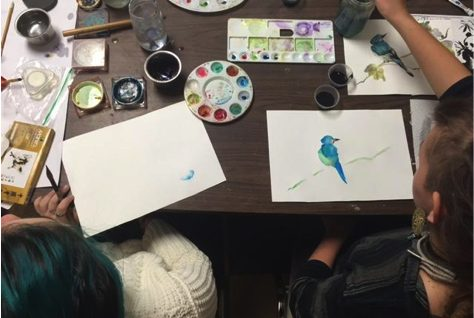 Students Painting a Bird in a Private School